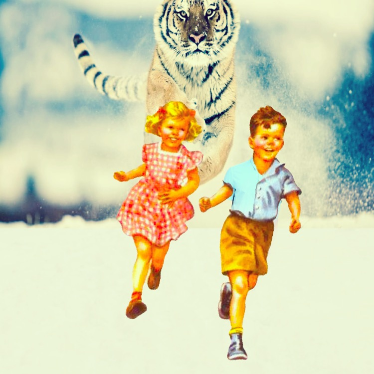 Children Running from Tiger (Mixed-media collage. JJ 2017).  Looks like fun.