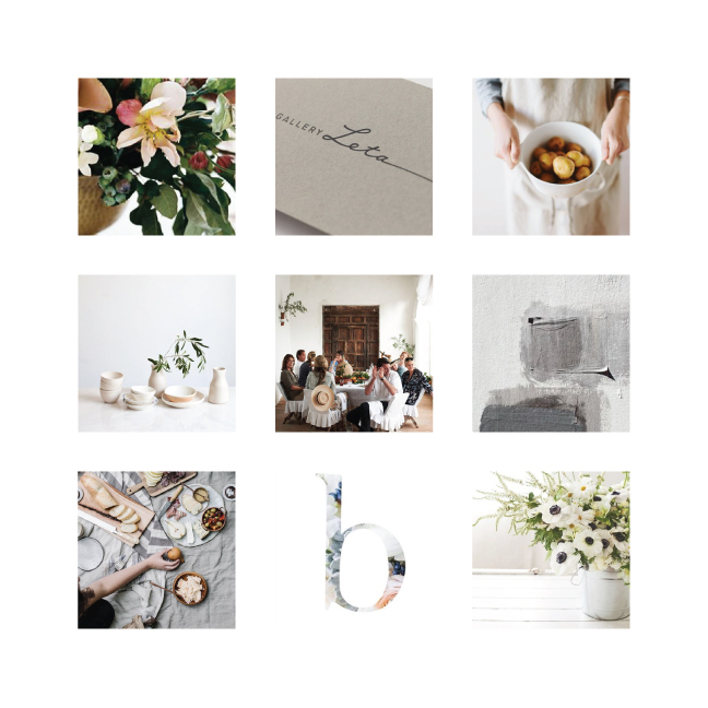 Mood Board featuring light airy colors and hand painted elements.