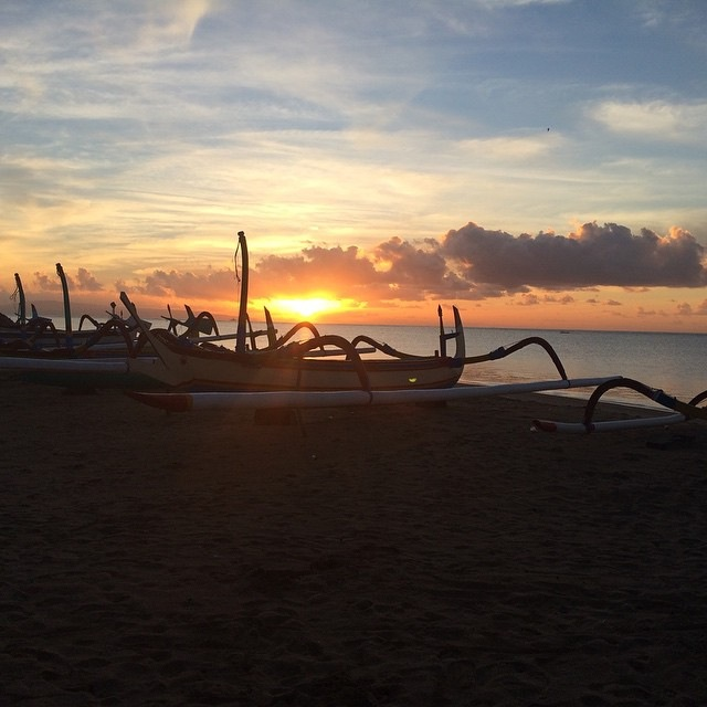 Sunrise at the beach in Sanur.  10 min walk from where the guests are staying.