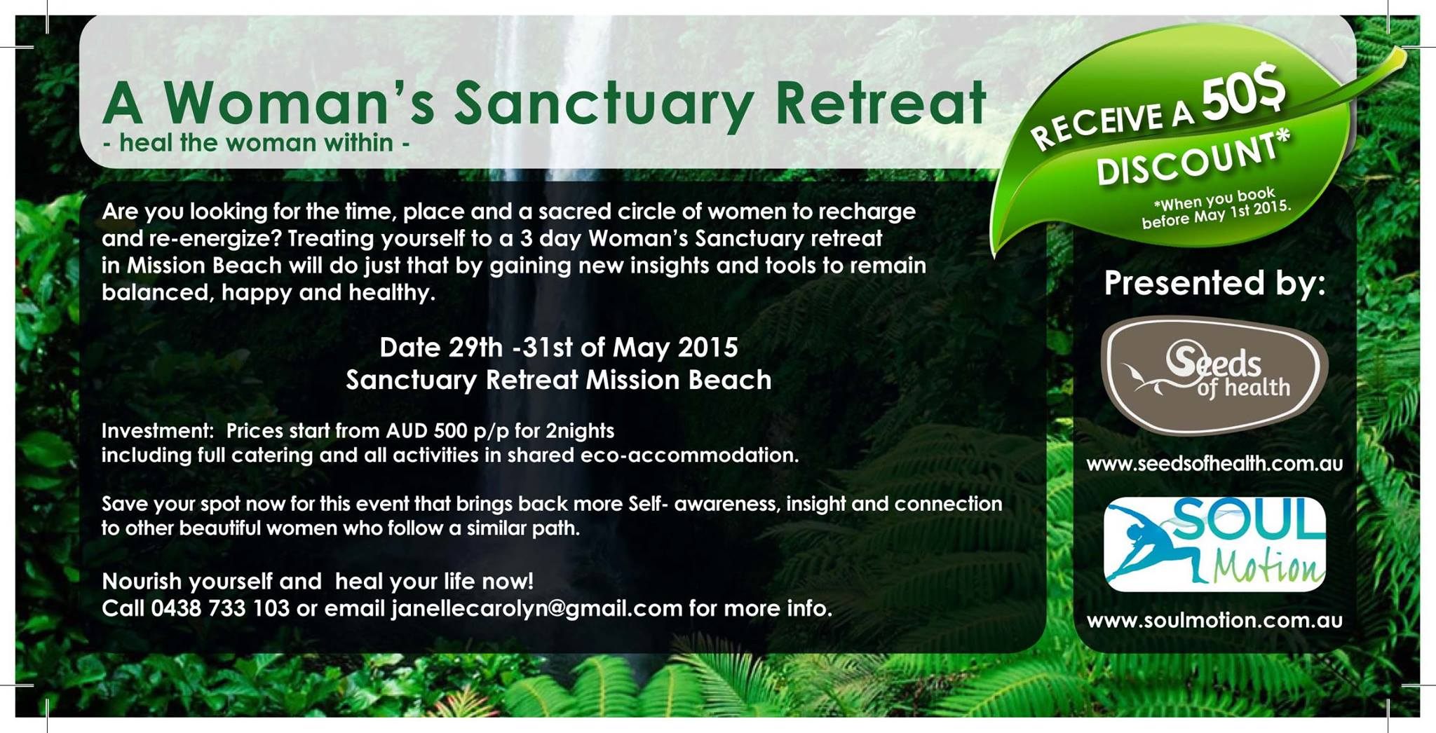 3 day women's retreat in Mission Beach, North Queensland