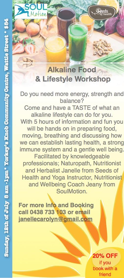 Alkaline lifestyle workshop