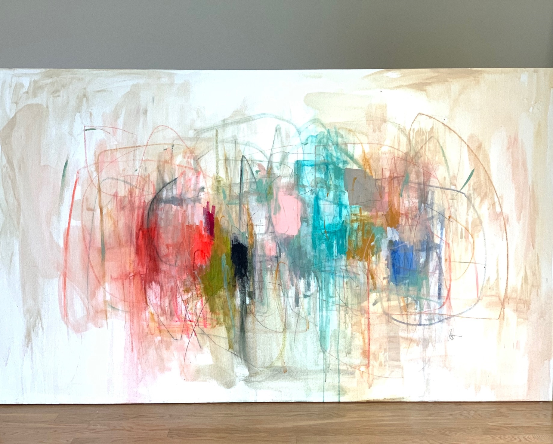 Big Emotions  36x60 inches  Acrylic, pastel & pencil on canvas  SOLD