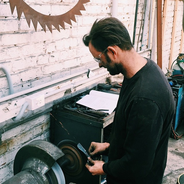 Visiting @bendbeames in his workshop today. Excited to be presenting some of his superb metal work at our pop-up this Sunday @momahobart . Pieces will include knives, bottle openers and iPad stands. #hobartmade #handforged #tasdesigned