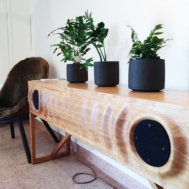 Wave Console by Murray Antill is in store. I have one of these at home and I love it so much, a wifi stereo system and a beautiful piece of furniture. Come and admire it, for two more days only! Open until 4pm today and until 7pm tomorrow at 91 Goulburn Street and then it's all over! Work by @touchingspace @lindseywherrett @nata___baum @planthousenursery and Murray Antill.