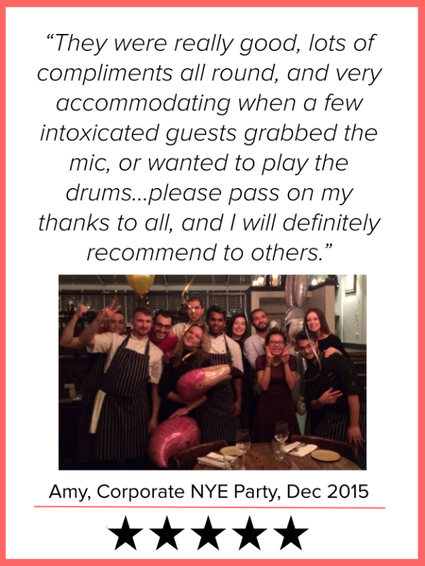 They were really good, lots of compliments all round, and very accommodating when a few intoxicated guests grabbed the mike, or wanted to play the drums...please pass on my thanks to all