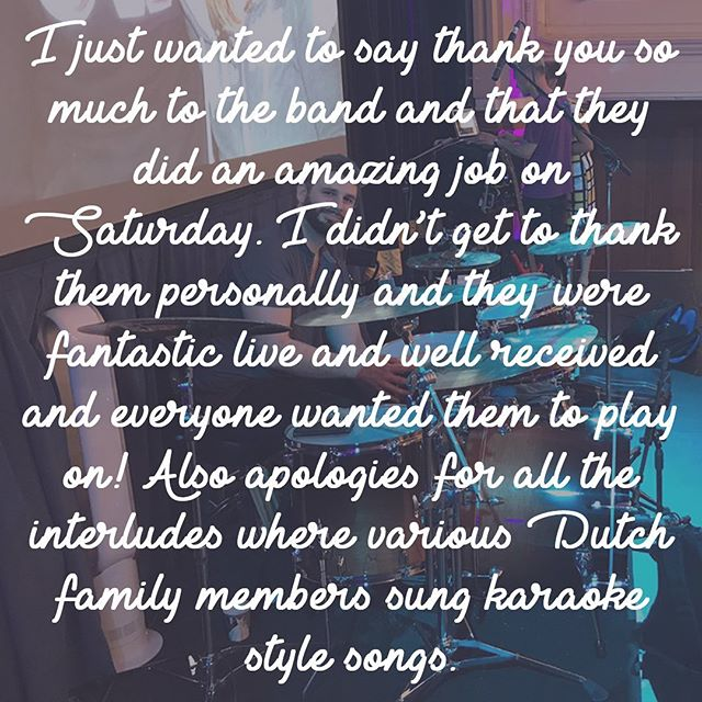 What can I say? We love making people happy! A lovely review from Charlie and Stijn, whose wedding it was last Saturday @whitgiftschool. As always it's an absolute pleasure to bring joy and happiness to couples tying the knot. And we love family and friends interacting on stage with the band! So much fun!! 😄🎤🇳🇱🎉🥂❤️ . . . #dutchkareoke #croydon #london #ukpartyband #whitgiftschool #partybanduk #indierockband #ukindierockband #weddingband #ukweddingband #weddingbanduk #review #feedback #giveit100percent