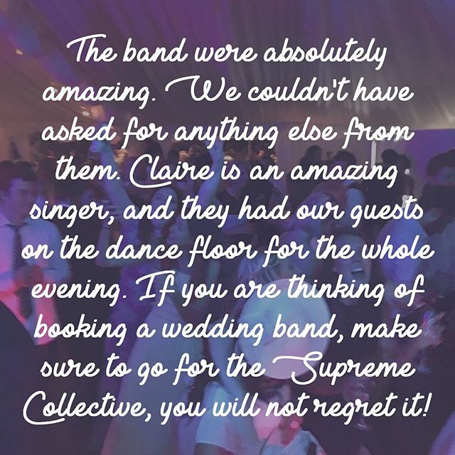 Wise words from Sophie & Chris! 😉 . . . #weddingband #ukweddingband #weddingbanduk #englishwedding #review #feedback #happycustomers #bandforhire
