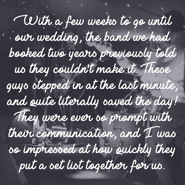 Happy Anniversary Abi & Mike! It was an absolute pleasure to step in and put on a show for your wedding celebration! 😘🎉🎸🎤🥁 . . . #weddingband #ukweddingband #weddingbanduk #partyband #coversband #ukcoversband #coverbanduk #partybanduk #happyanniversary #feedback #review