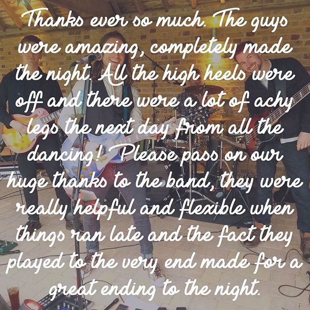 This super lovely review came from the fabulous Hannah & Dave who had their wedding at @adamandevemillhill on 10th June 2017. Found this little gem of kind words hiding in the archives while having a little spruce up. #adamandevemillhill #weddingreview #positivefeedback #ukweddingband #indierockband #ukweddingbandforhire #weddingbandforhire #bandforhire #poprockband #ukpoprockband #eventprofs #ukeventprofs #pubwedding #londonwedding #englishwedding #livemusic