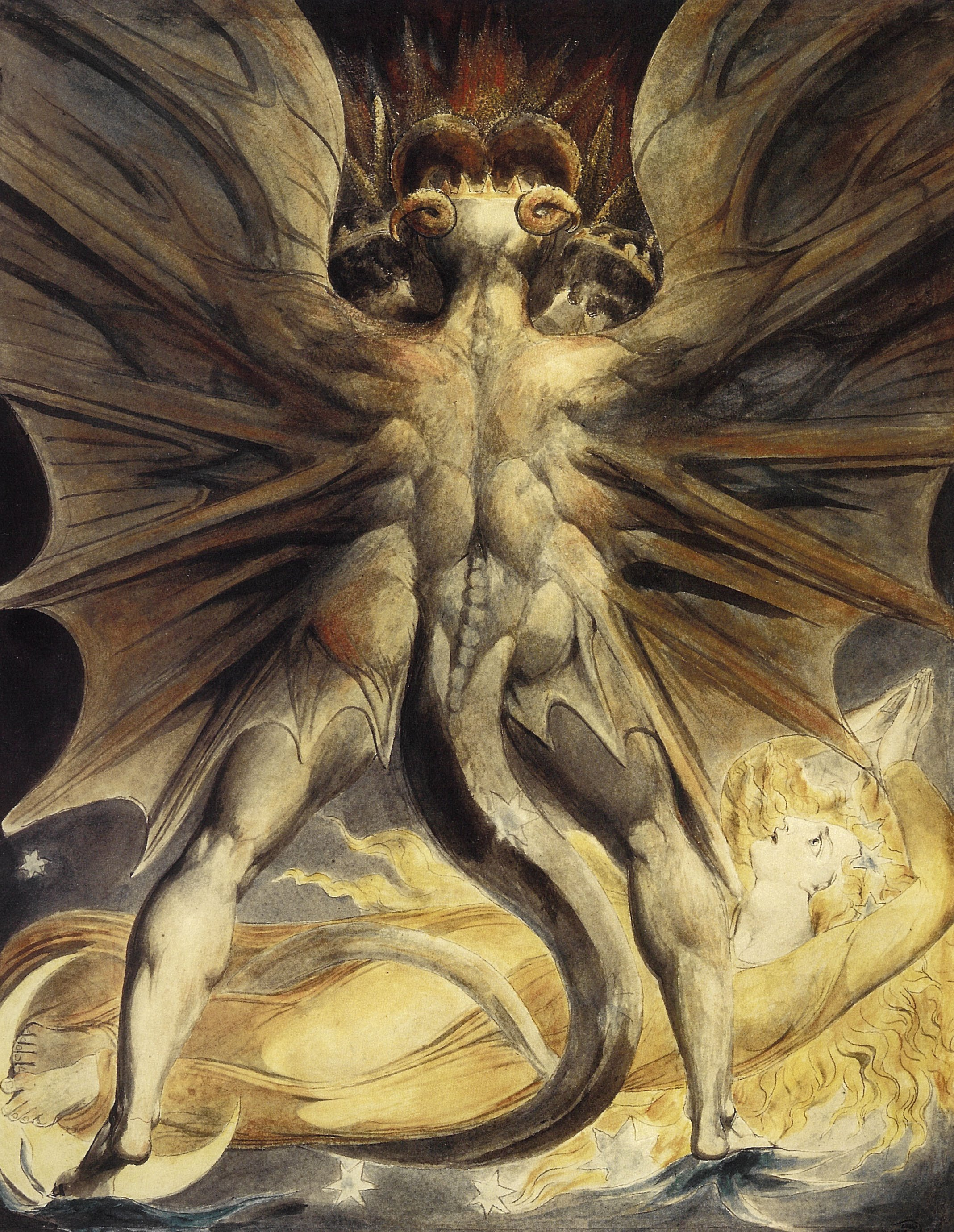 William Blake,  The Red Dragon and the Woman Clothed in Sun  (1803).