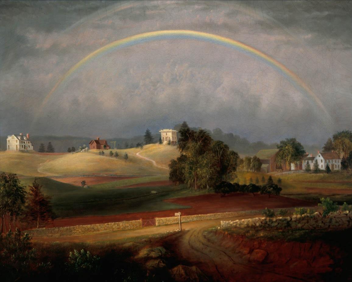 1845 painting of Brook Farm by Josiah Wolcott.