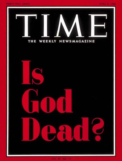 The famous Times Cover 'Is God Dead?' from 1966.