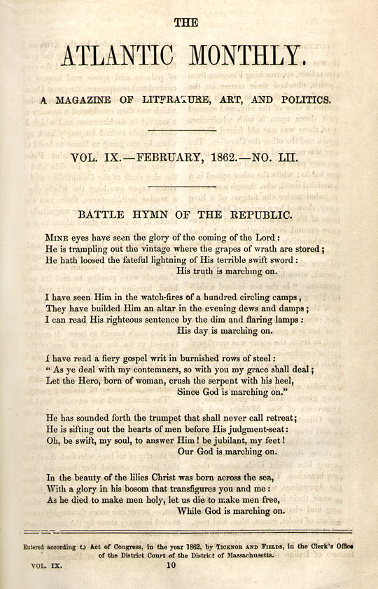 The Poem - 'The Battle Hymn of the Republic', By Julia Ward Howe.