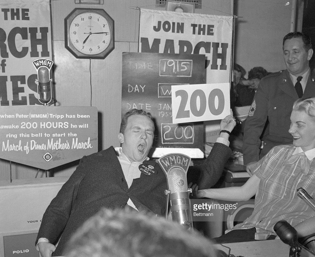 Peter Tripp kept awake in 1959.