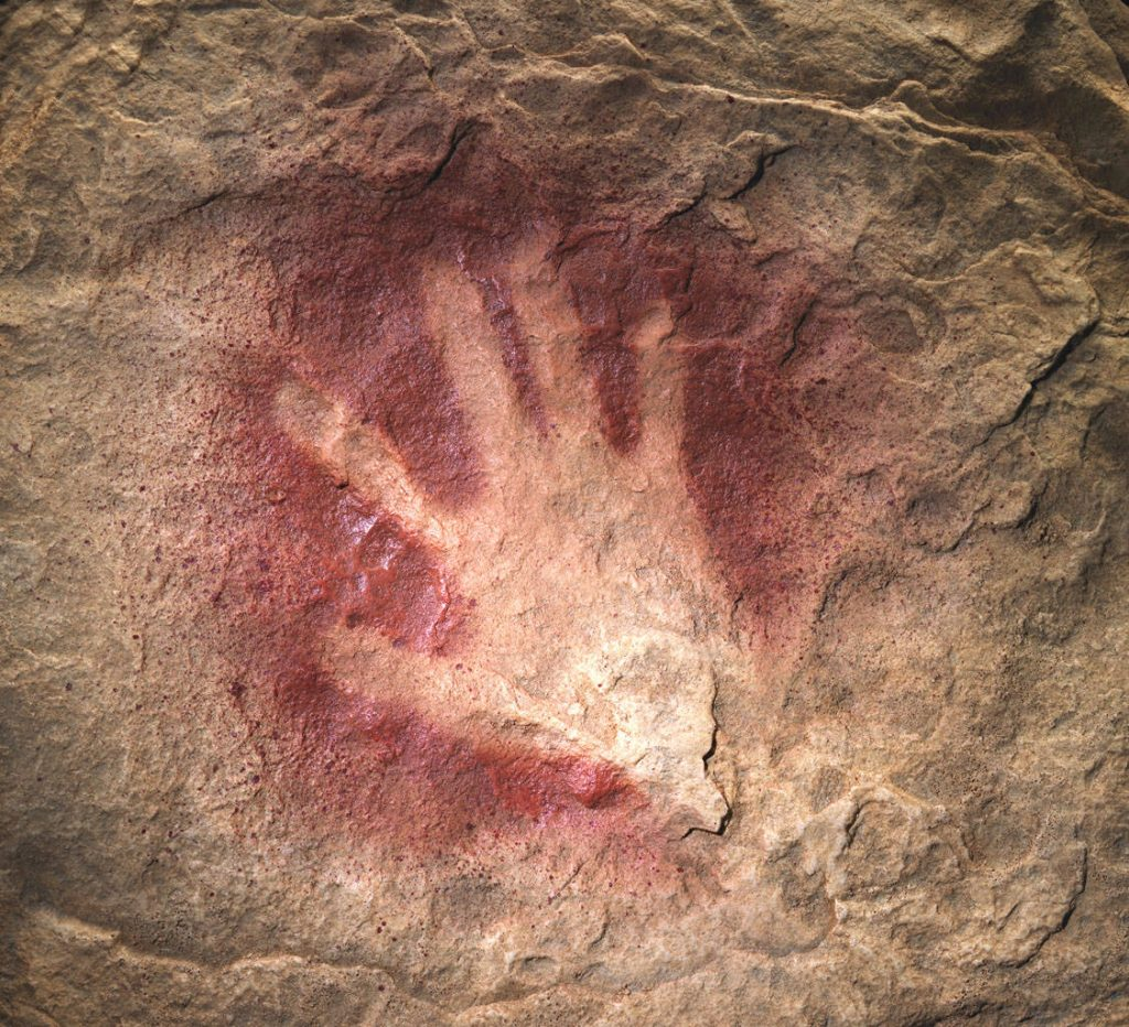Primordial handprint – suggests to me emerging human agency.