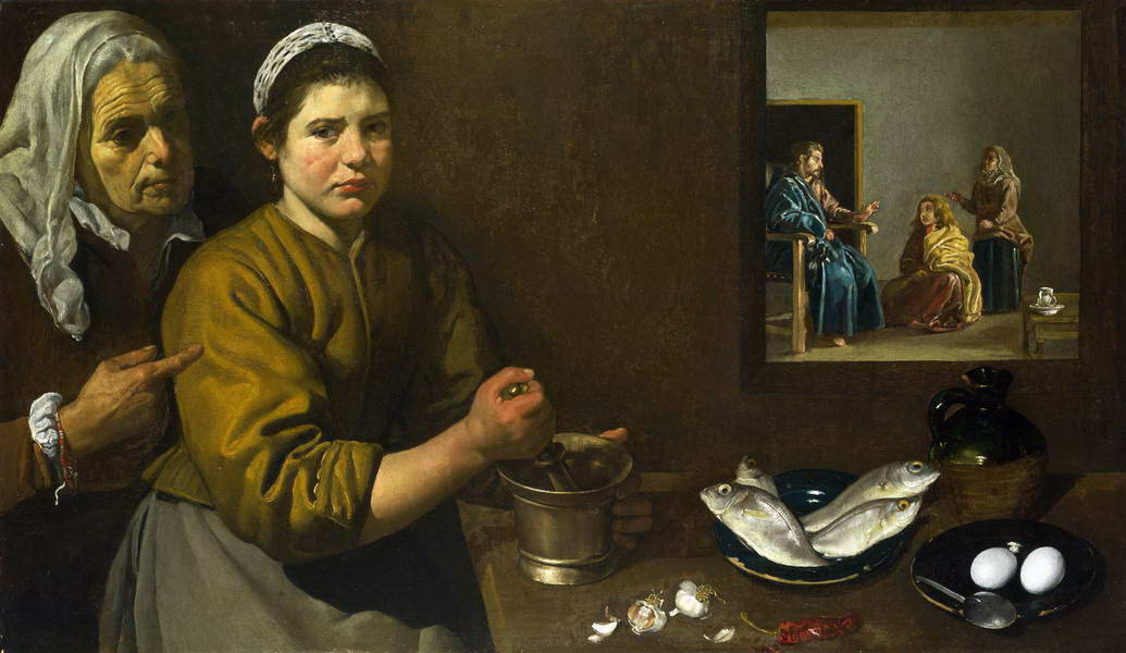 Christ in the House of Mary and Martha, 1620 by Diego Velazquez.