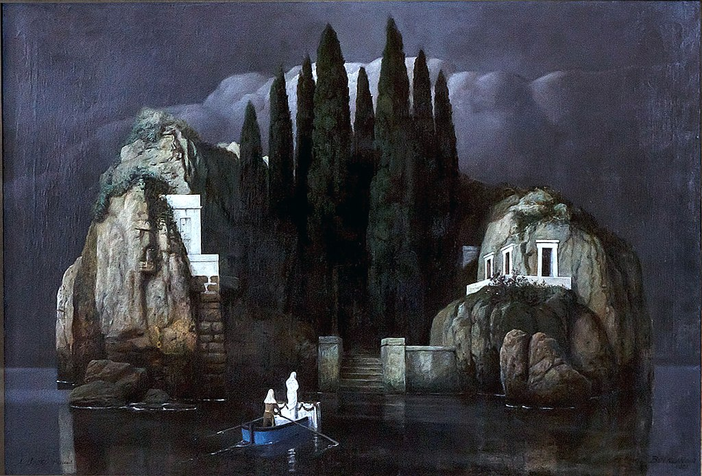 Isle of the Dead, version six (1901) by Arnold Böcklin. (in-part) Inspired by the English Cemetery in Florence.
