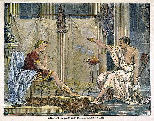 Aristotle and his pupil Alexander.