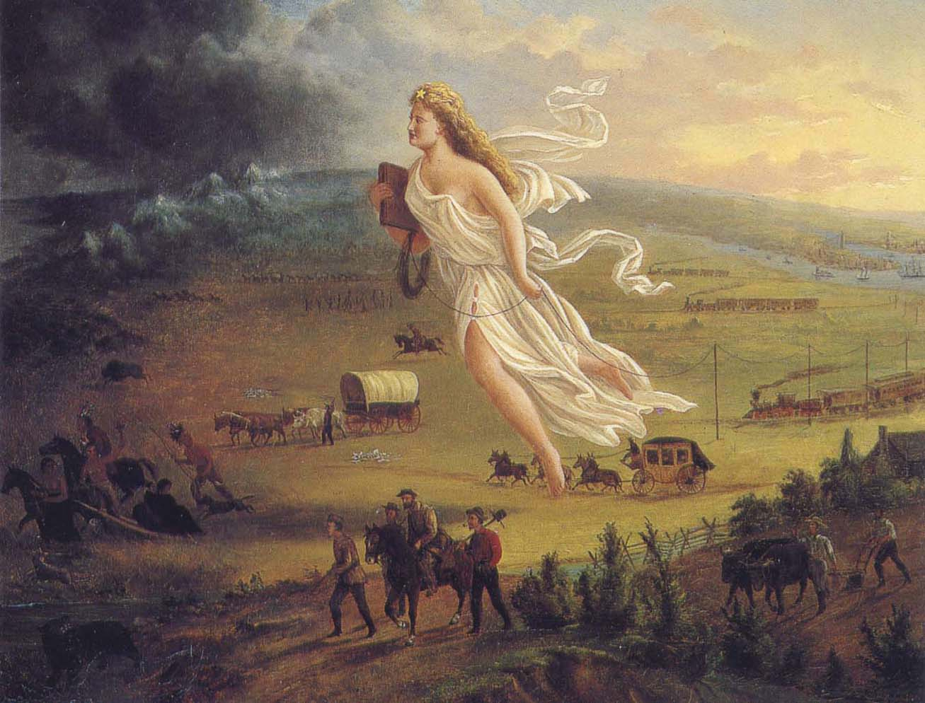 'American Progress' (1872) by John Gast. Depicting Columbia and Western migration, towards America's 'Manifest Destiny'.