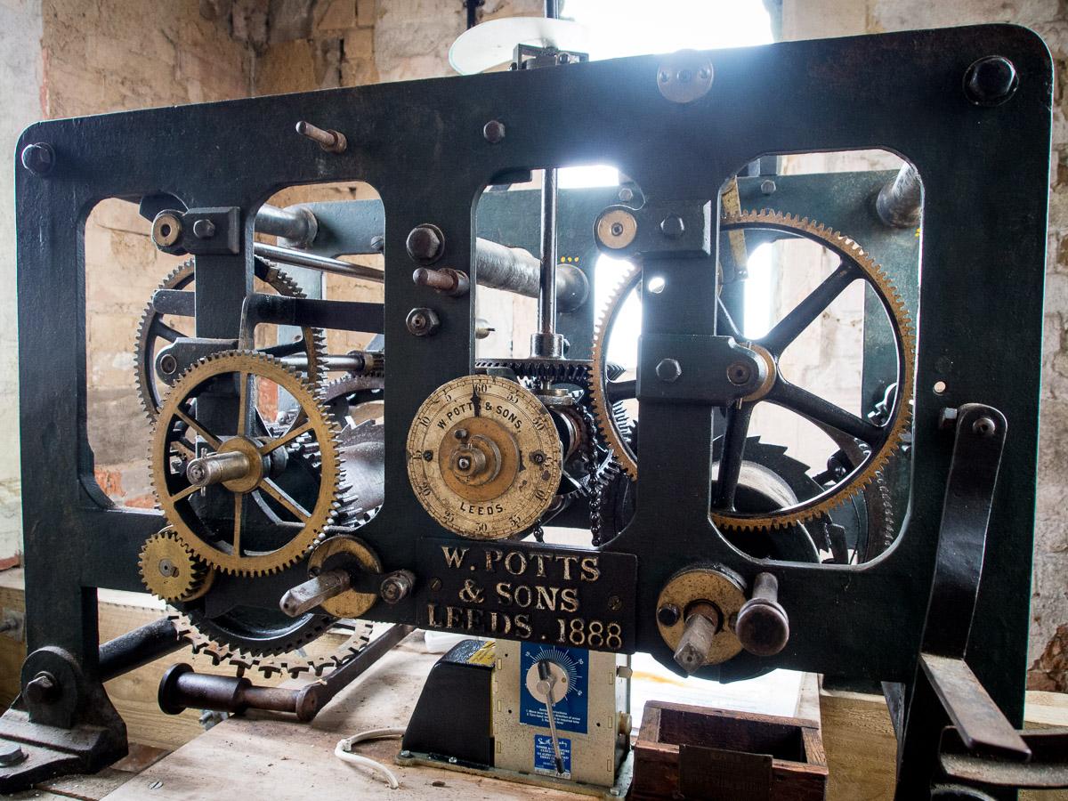 The original clock mechanism, dating from 1888