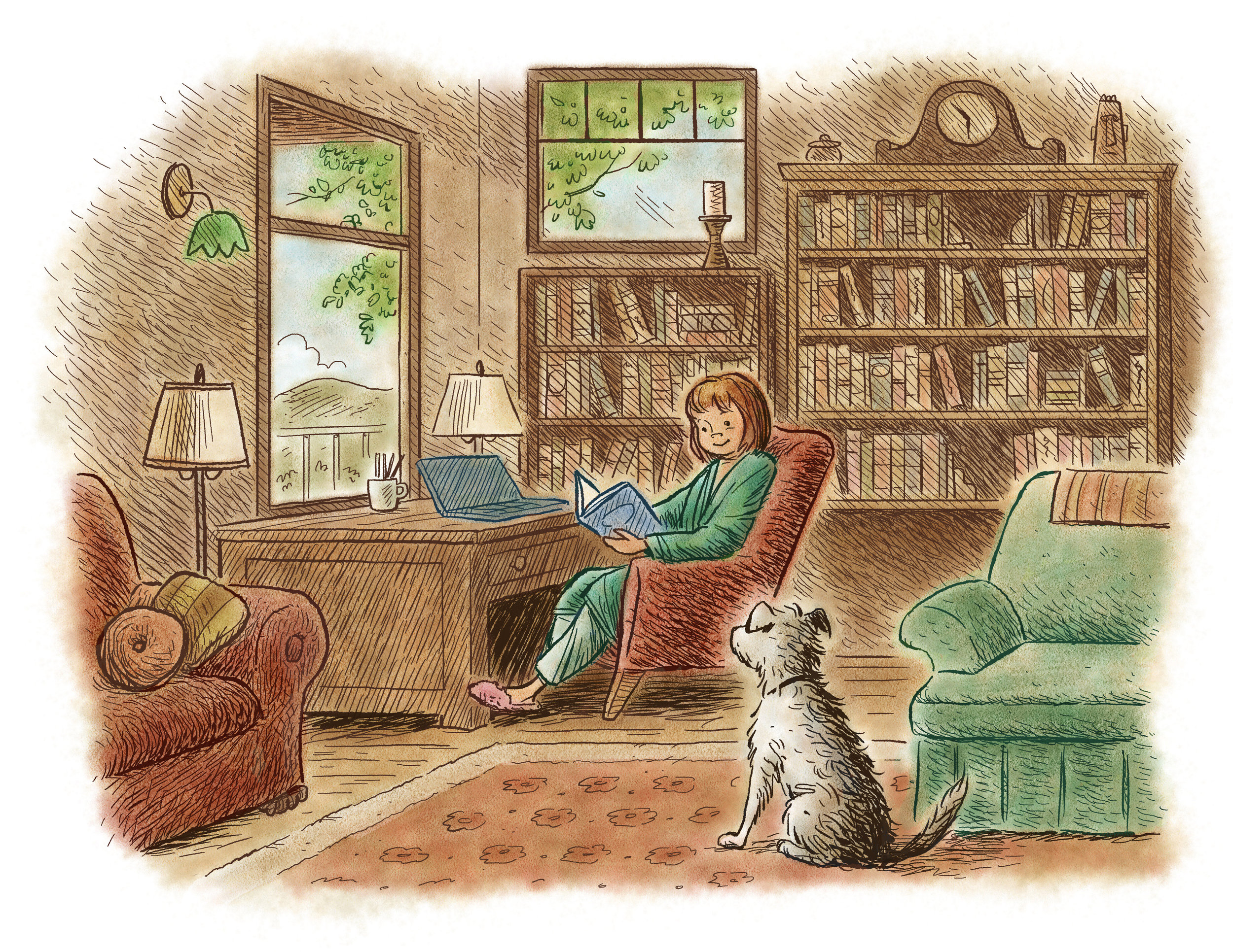 Ink & watercolor study / A Lucky Author Has A Dog   Arthur A. Levine Books / Scholastic (2013)