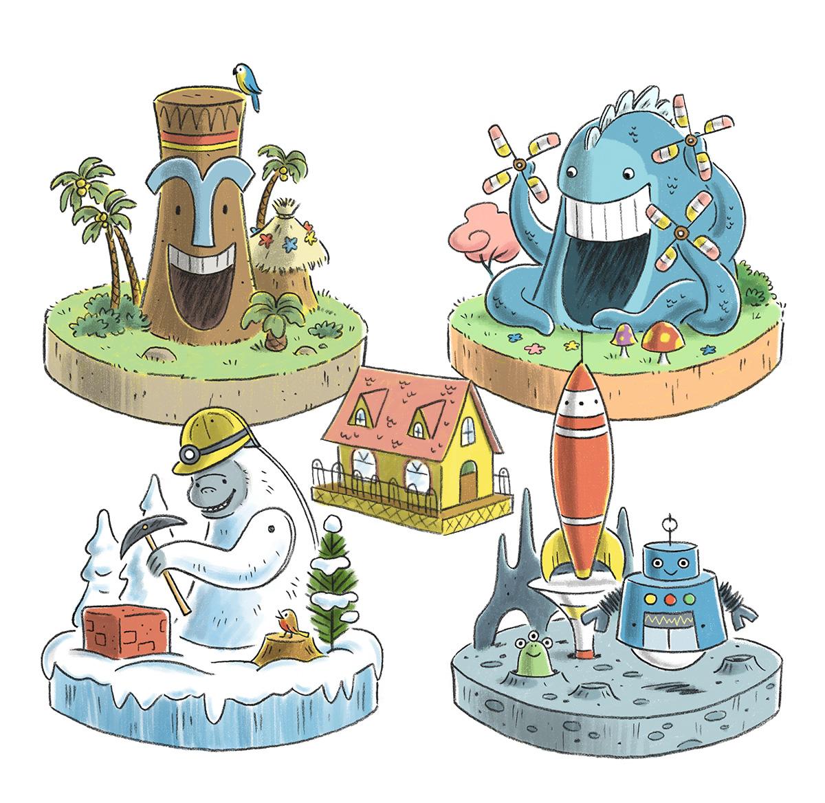 Final art / Curious George Train Adventures iOS game   Agency: Smashing Ideas   Client: Houghton Mifflin Harcourt (2016)