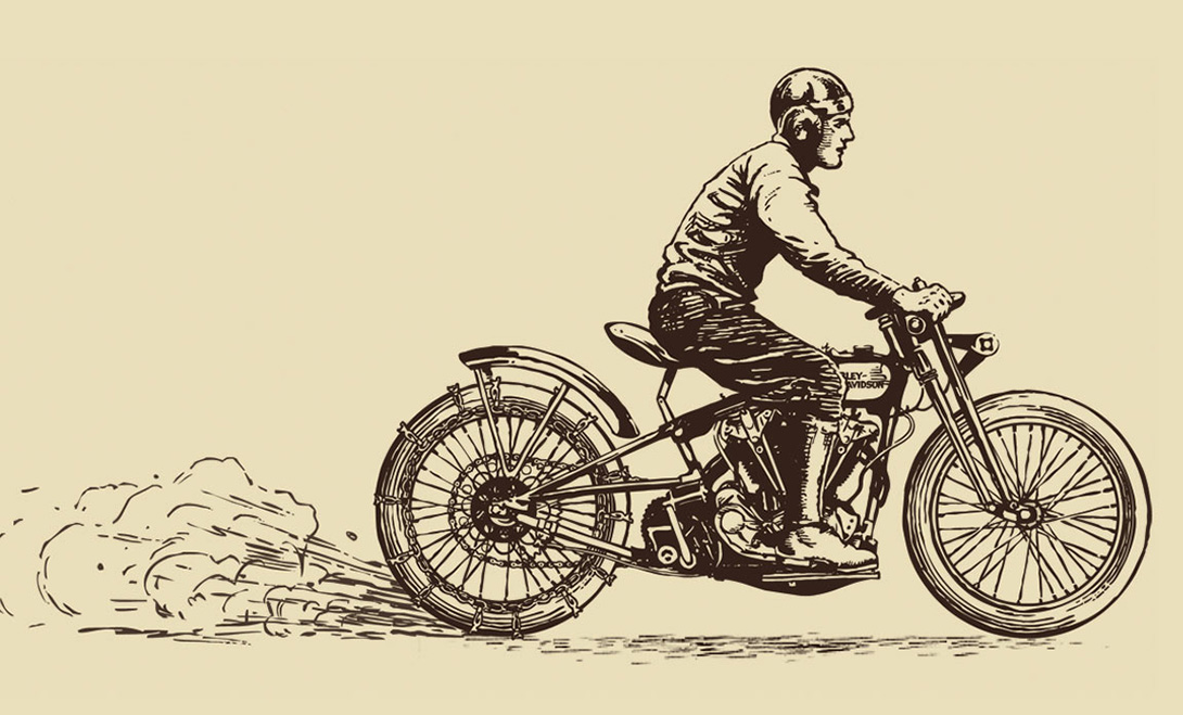 Illustrated component / Interactive Hill Climb Simulator   Agency: Belle & Wissell   Client: Harley Davidson Museum (2007)