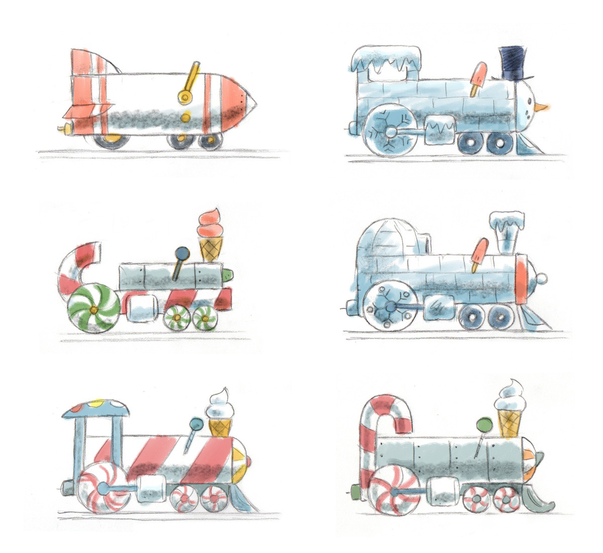 Concept sketches / Curious George Train Adventures iOS game   Agency: Smashing Ideas   Client: Houghton Mifflin Harcourt (2016)
