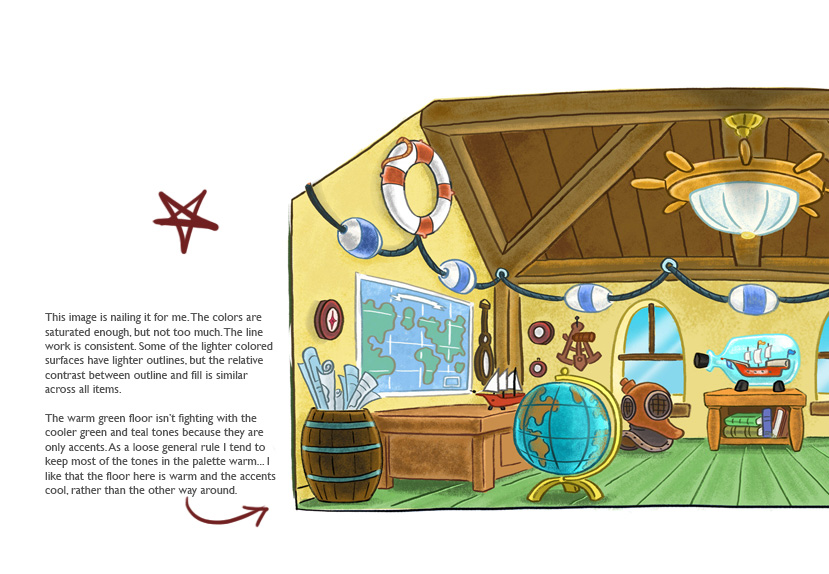 Art direction notes on interiors for Ella The Elephant (2013) Production: Cookie Jar Entertainment Broadcast: Disney Jr.