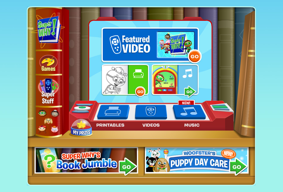 UI design, vector art / Super Why website Agency: Smashing Ideas Client: PBS Kids (2007)