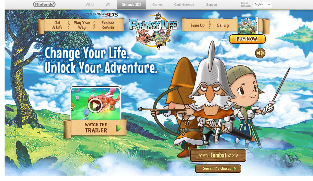 UI design & layout / Fantasy Life website Agency: Smashing Ideas Client: Nintendo (2012)