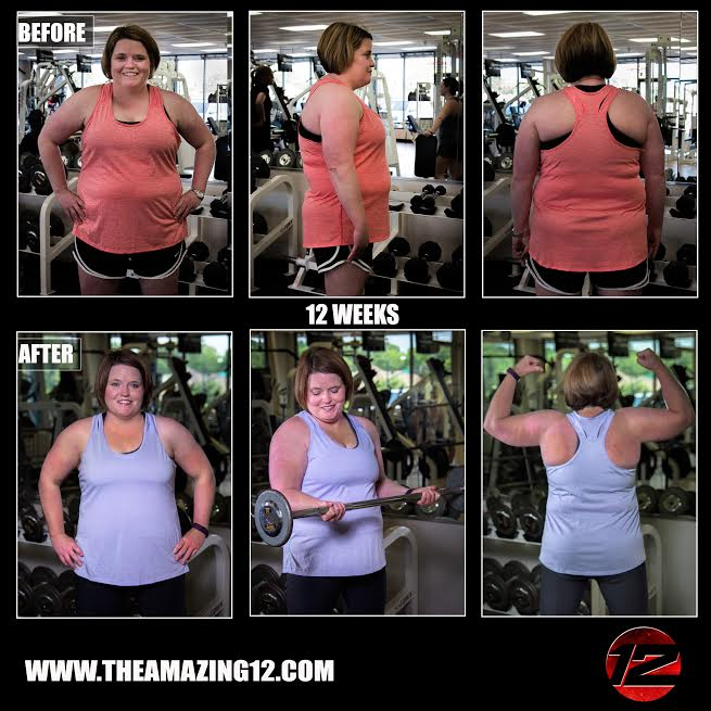 I am a 38 year old wife and mother who was overweight and out of shape. I decided that I wanted and needed to start exercising after seeing other Amazing 12 participants' pictures. During the A12 I lost 12.2 pounds and 11 inches. I was diagnosed with mixed connective tissue disease in 2007 and take prednisone daily, so lifting daily had really helped me to keep my weight under control. Amanda is a wonderful trainer and if you give the Amazing 12 100% you will see results! Amanda has given me the tools I need to continue to live, eat, and train for a healthy me. I look forward to continuing the program to see even more results!  -Katie McGehee