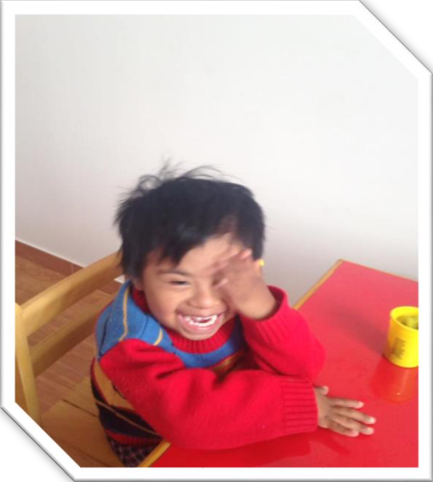 Name: Santiago  Age: 3 years old  Diagnosis: Down syndrome Initial status: A very fearful child with problems of attachment to his mother, limited language and difficulties to socialize with other children of his age.  Current status: It is being worked at the level of all its difficulties, little by little he has managed to detach of his mom and now he can carry out the session's work without counting on her presence. Accompaniment is being done to the mother for the enrolment process to the early childhood education school system.