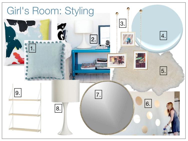 Girl's room design board.