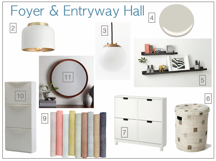 Petite, fresh and modern entryway design board.