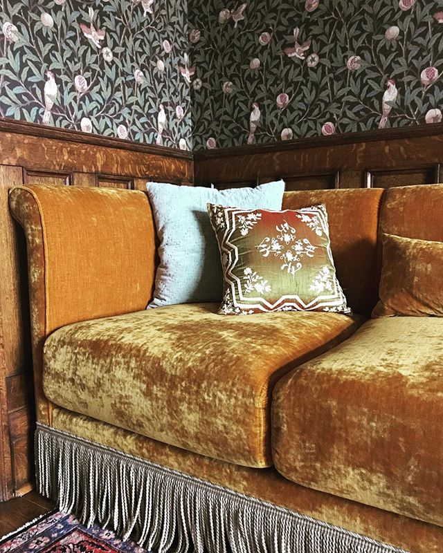 This triumphant corner, if we do say so ourselves... Custom sofa and interior design by Emme Design . . . . . . #torontointeriordesigner #interiors #torontointeriors #edwardianinteriors #edwardianstyle #artsandcrafts #englishartsandcrafts #customsofa #bullionfringe #velvet #saffron #williammorriswallpaper #interiordesign #oldtoronto #bygoneglory