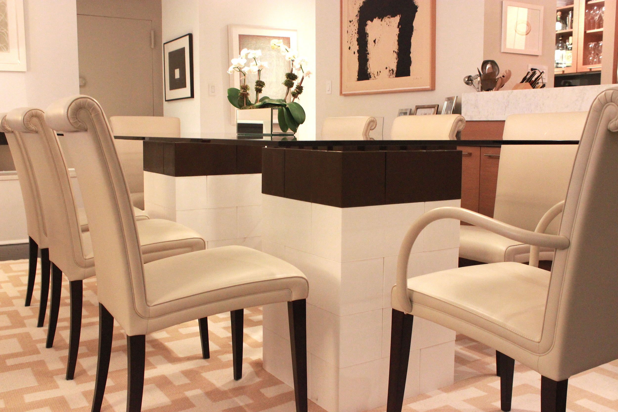 Create beautiful modular table stands for dining room tables, coffee tables, and other furniture ($278.00  not including glass ). See instructions  here