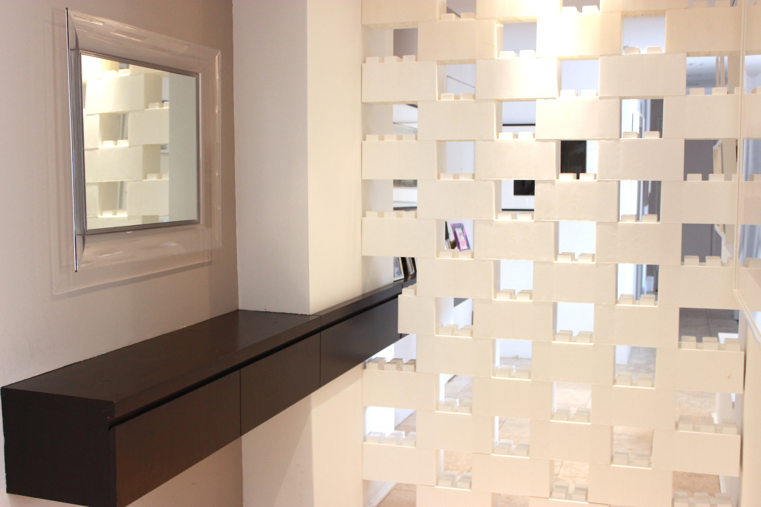 Space out blocks to create ventilation and partially see-through divider walls