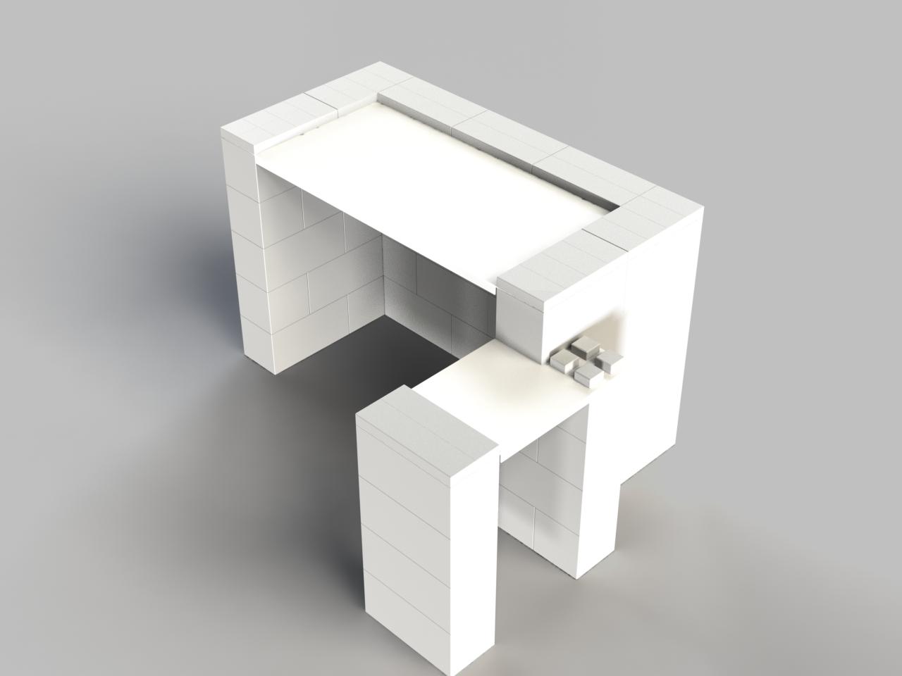 EverBlock 4ft Desk w/Return