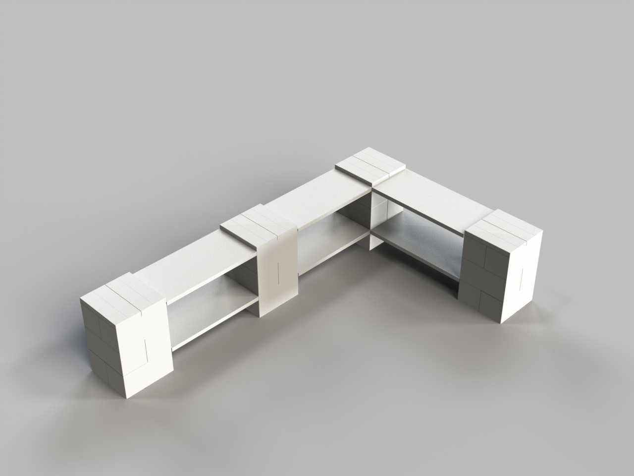 2 Level Double Corner Shelf A