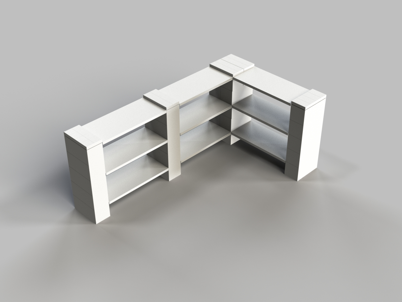 3 Level Double Corner Shelf B
