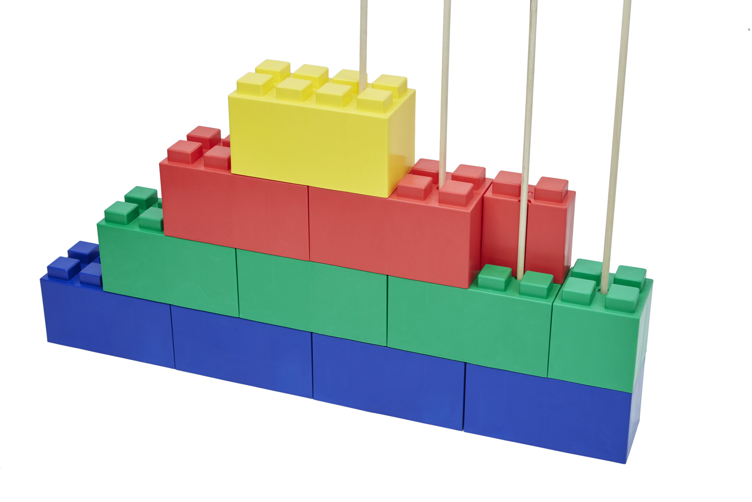 """Insert 1/2"""" wooden dowels to lock blocks together and provide additional support"""