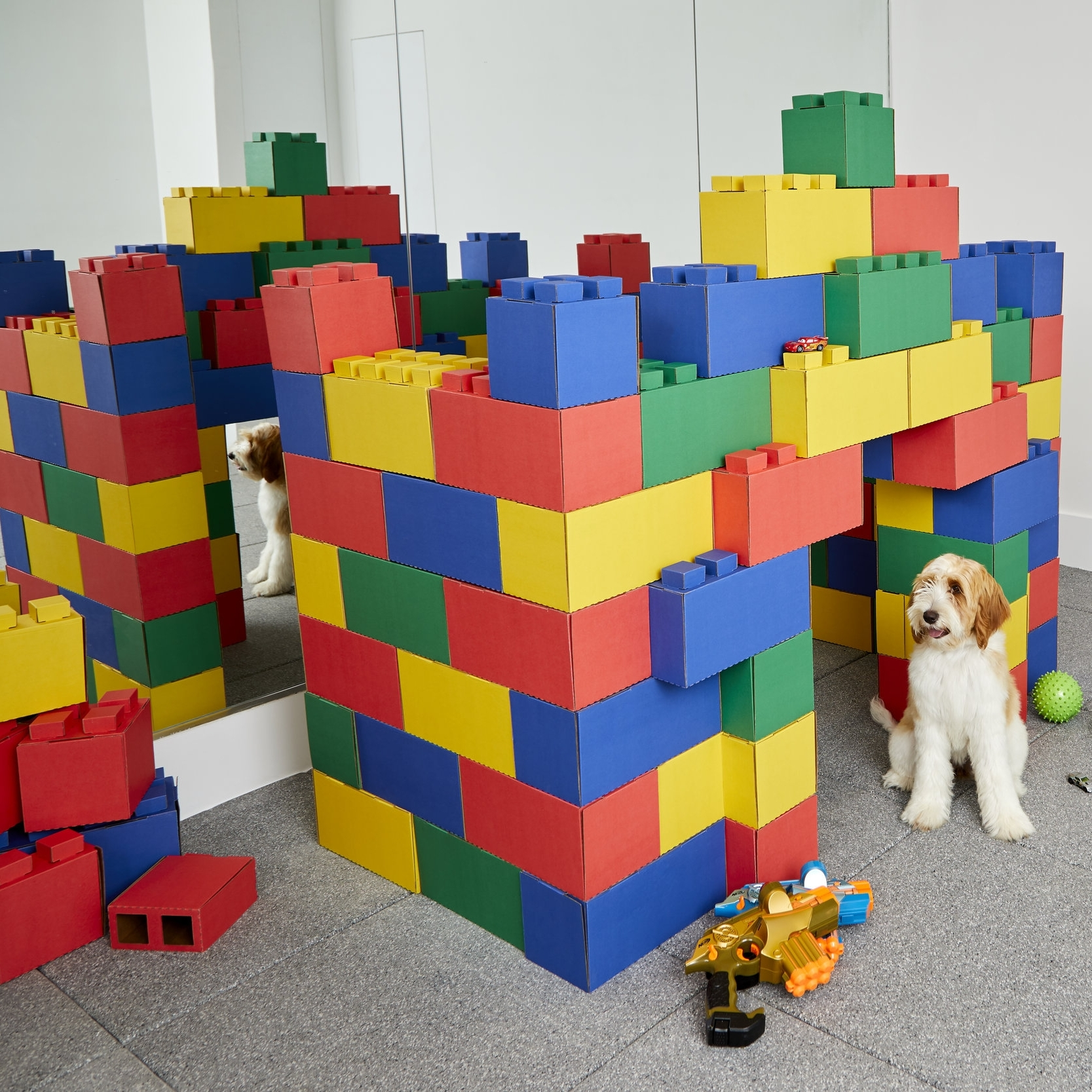 Simply stack blocks and alternative sizes, colors, and the configuration of the blocks to build nearly anything.