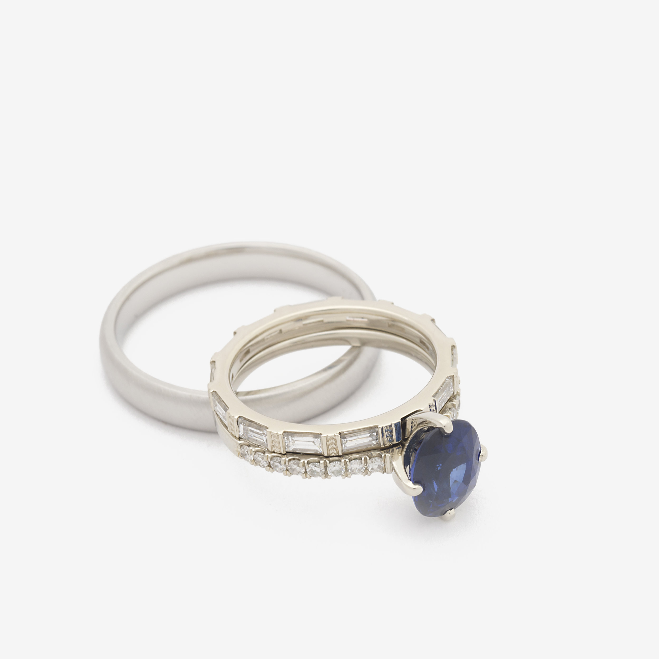 Michaela - Interlocking Engagement Ring and Band + His Platinum Band.jpg