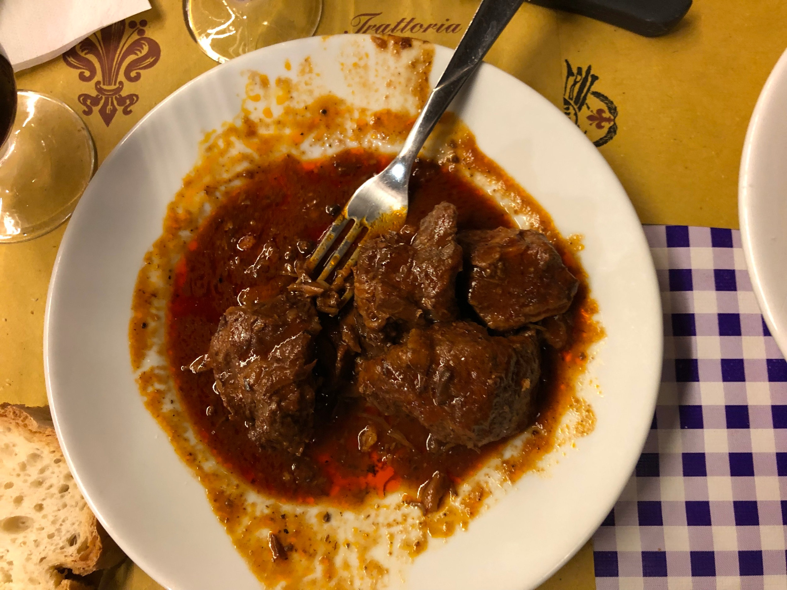 Peposo di manzo (peppery beef stew) in Florence