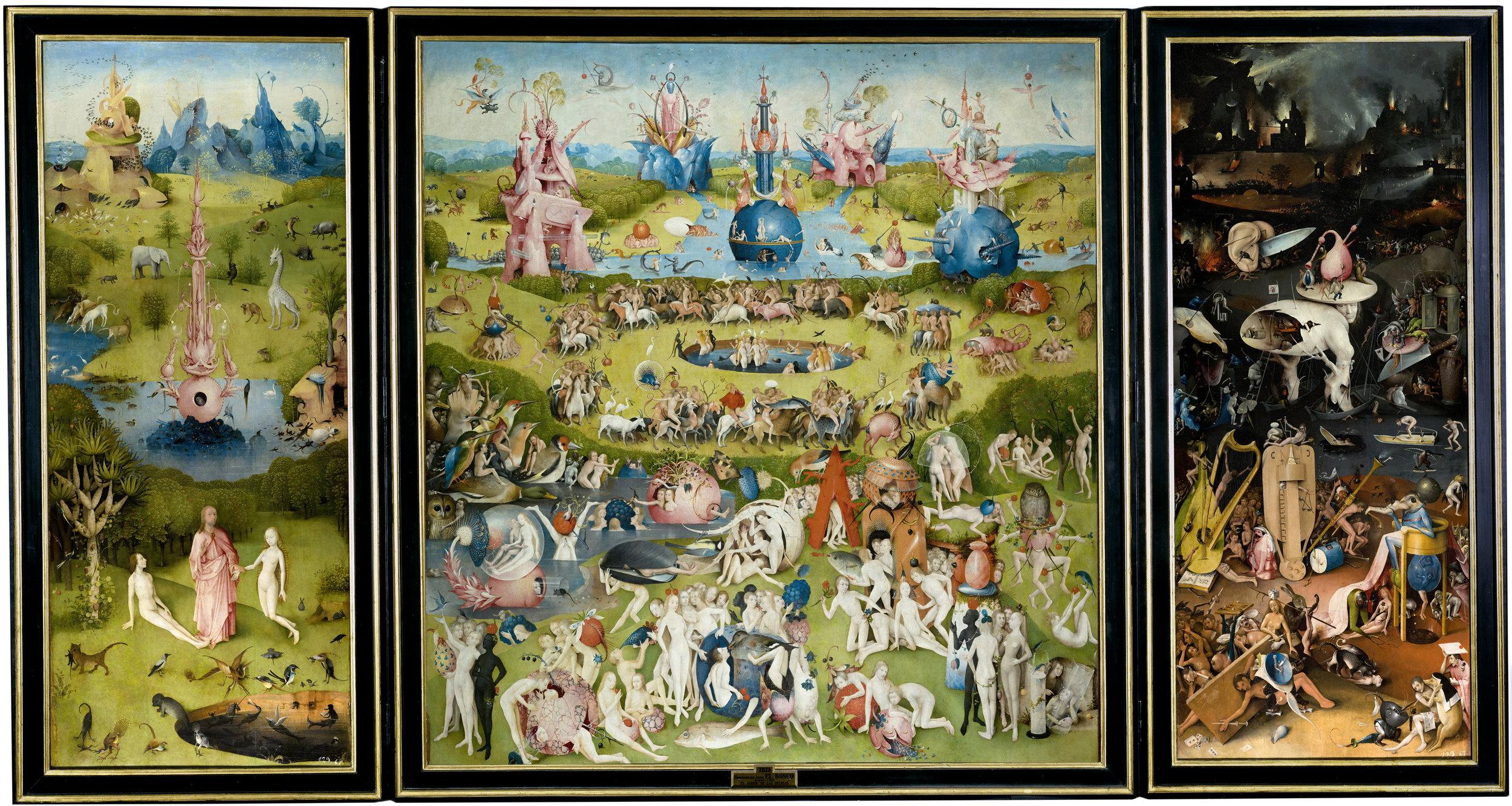El Jardín, como toda la obra del Bosco, está lleno de   sátira y simbolismo. Sus temas son los excesos de la conducta humana –gentes sin dios ni ley, entregadas a los placeres–, el pecado y los castigos por venir.
