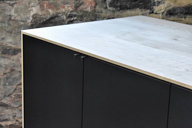 Credenza detail from a while back. Bleached Maple case with Blackened Maple doors and blackened brass hardware.  Custom for Mr. @yaffeface 's fresh digs designed by @jaejoo_  #furniture #furnituredesign #finefurniture #interiordecor #woodworking #customfurniture #customhardware #credenza #madeinnewyork #maple #bleachedmaple #blackened #blackenedbrass
