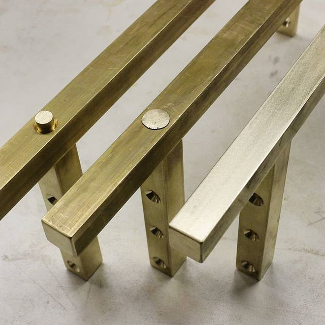 """Process of a mechanical joint in solid brass without fasteners. Once peened tightly and filed flush, the round """"tenon"""" disappears into the leg.  #finefurniture #furnituredesign #brass #mechanicaljoint #machined #machining #fabrication #metalwork #metalworking #brasslegs #customfurniture #customhardware #madeinnewyork"""