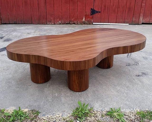 Custom walnut Jean Royère inspired coffee table that shipped to Boston recently for @jaejoo_  #customfurniture #furnituredesign #coffeetable #walnut #woodworking #finefurniture #jeanroyere #madeinnewyork