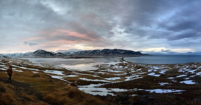 #tbt Iceland northern coast panorama. Being closer to the artic circle in winter means shortened daylight hours but ample magic hour lighting.  #iceland #magichour #tbthursday #travel #panorama #sunset #winterwonderland